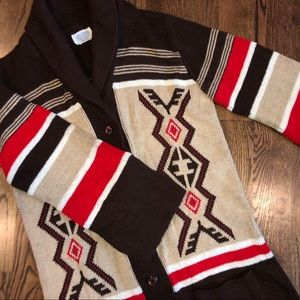 1970s Vintage Aztec Bell Sleeved Cardigan